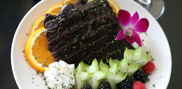 Image of chocolate cake and berries